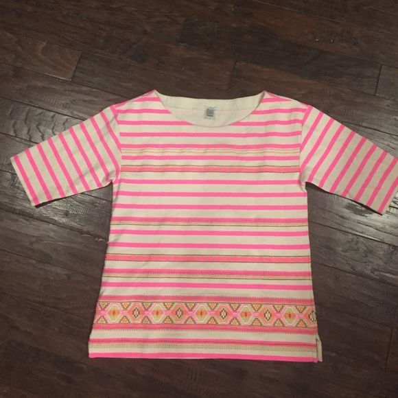 Gorgeous hot pink J. Crew top Even better in person hot pink top with Aztec pattern. J. Crew Tops Tees - Long Sleeve
