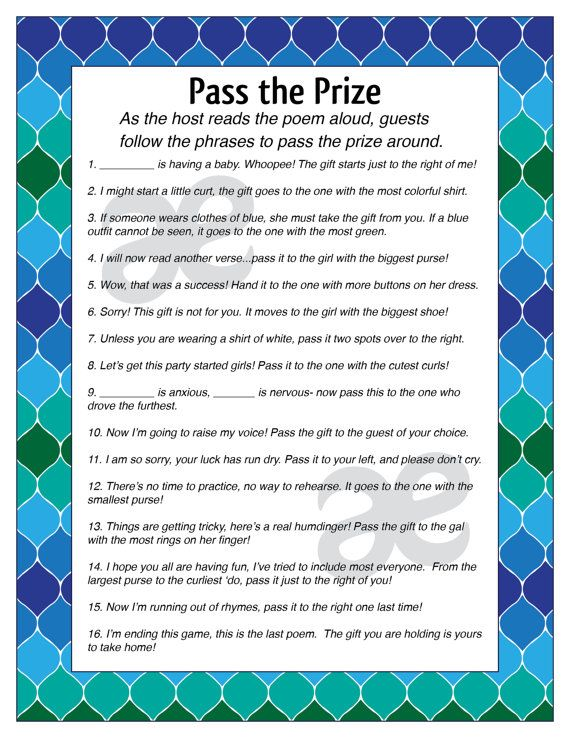 Printable Customizable Baby Shower Activity: Pass The Prize   Instant  Download Blue Green Ombre