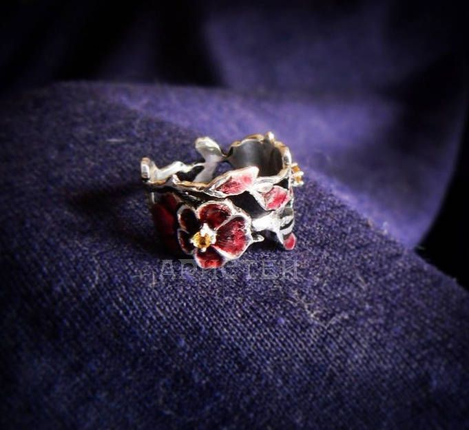 """Ring """"Oriental cherry"""" by ARISTEY on Etsy"""