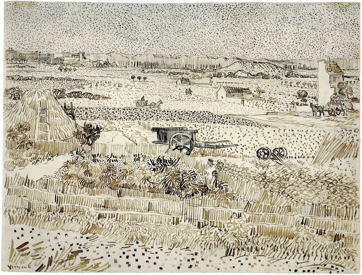 Vincent van Gogh (Dutch, 1853-1890). Harvest - The Plain of La Crau, 1888. Reed pen and brown ink over graphite on wove paper.