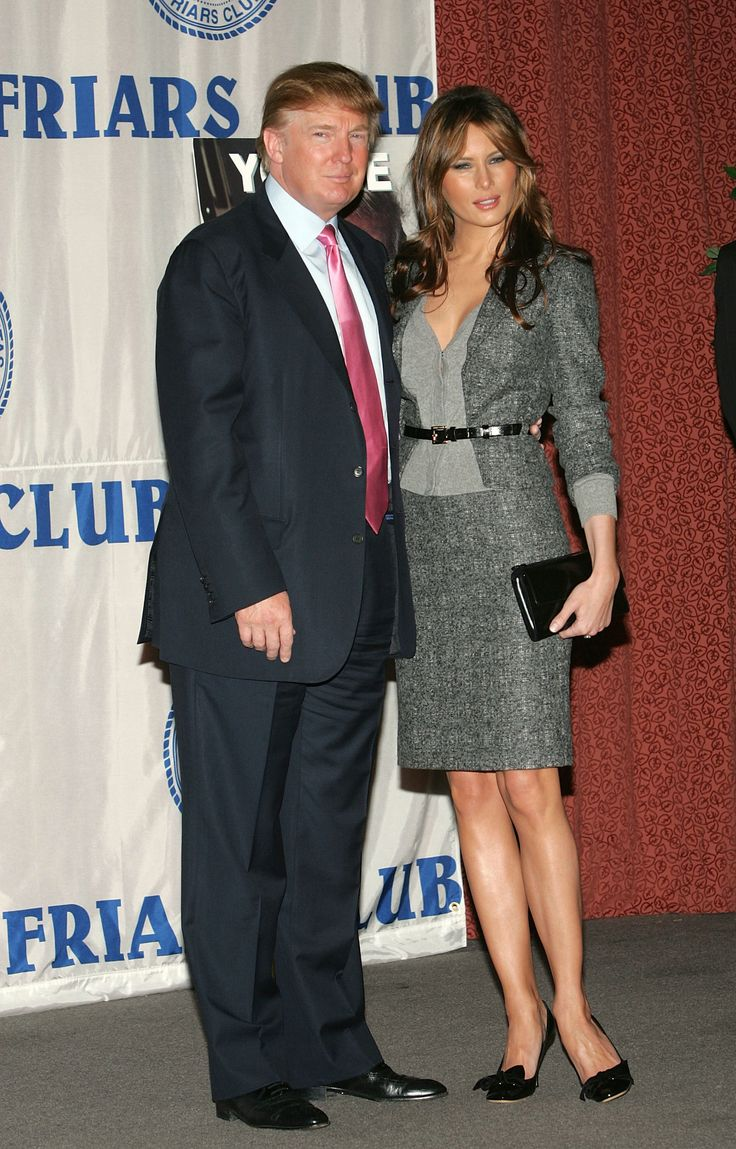 NEW YORK - OCTOBER 15:  Real Estate mogul and TV personality Donald Trump and fiance Melania Knauss attend the Donald Trump Friars Club Roast Luncheon at the New York Hilton October 15, 2004 in New York City.  (Photo by Evan Agostini/Getty Images) via @AOL_Lifestyle Read more: http://www.aol.com/article/lifestyle/2016/11/10/melania-trump-style-/21603454/?a_dgi=aolshare_pinterest#fullscreen