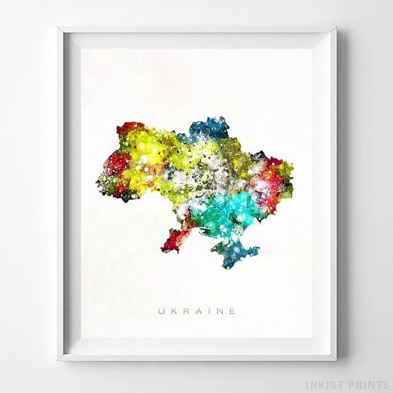 Ukraine Watercolor Map Wall Art Print - Prices from $9.95. Click Photo for Details - #giftideas #watercolor #map #christmasgifts #wallart #Ukraine