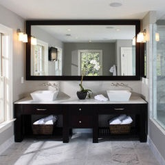 contemporary bathroom - notice full size framed morrow with side lights.  Or, bring mirror down and use light bar