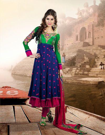 Majesty Green & Royal Blue Salwar Kameez   StylishKart.com
