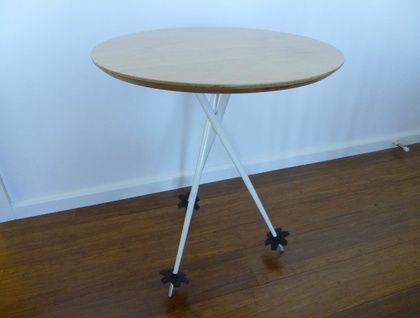 Ski Pole Table - made from aluminium ski poles with a plywood top.