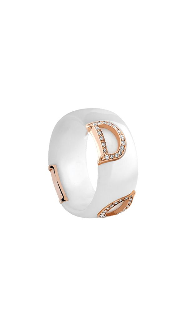 D.Icon white ceramic, pink gold and diamonds ring.
