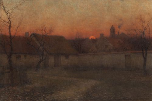 thunderstruck9:  Frederick Judd Waugh (American, 1861-1940), Country Cabins at Sunset, 1893. Oil on canvas, 54 x 80 cm.