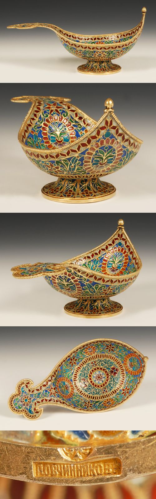 A Russian silver gilt and plique-a-jour enamel kovsh, Pavel Ovchinnikov, Moscow, circa 1896-1908. The shallow boat shep kovsh on a raised circular base completely decoratedd in vibfrant dtylized floral snd geometric patterns of pliwue-a-jour enamel.