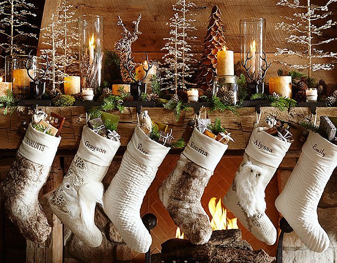white and tree themed mantel decor for Christmas