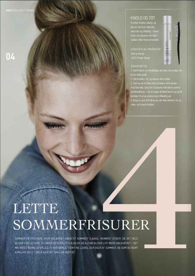 Guide til fire lette sommerfrisurer i HH Simonsens Hair Code Magazine: http://issuu.com/hhsimonsen/docs/hh_magazine_12_web