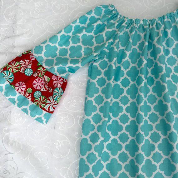 Christmas dress for girls aqua Christmas dress by LittleSaraSews
