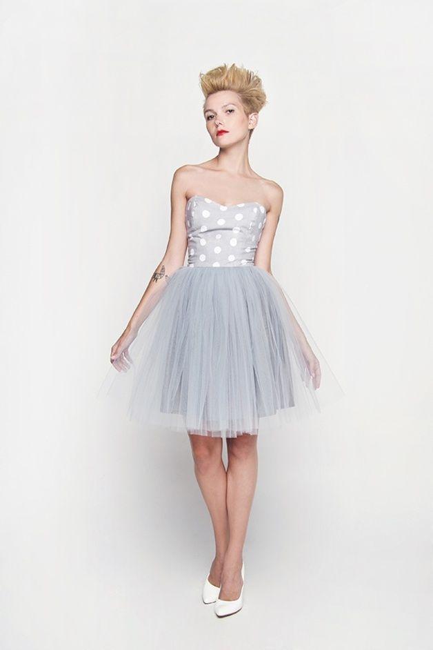Mini sukienka z gorsetem z bawełny szare grochy