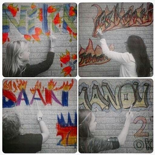 Naam + verjaardag in graffiti