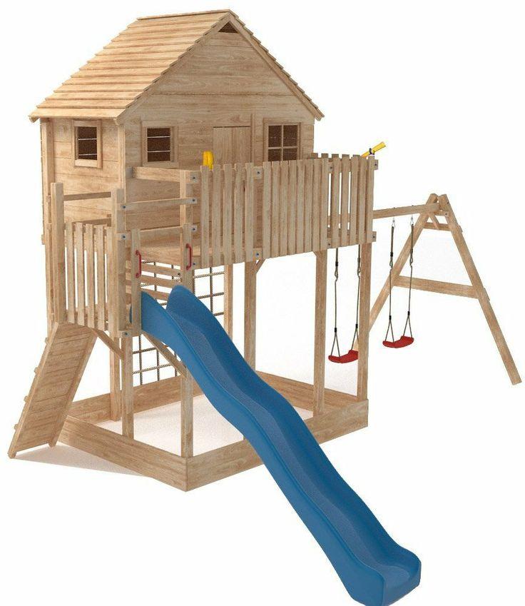 XXL Spielturm Baumhaus Stelzenhaus Spielhaus Sandkasten + Rutsche + 2 Schaukeln