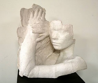 "Plaster Casts with a Message. Inspired by Amercian artist George Segal and his life-size plaster body casts. Working individually or in pairs,  students selected a message or idea or feeling they wanted to express through their sculpture. Meaning should be conveyed through expression and gesture. Extend the lesson by the addition of supplementary items. From ""A Faithful Attempt"" website."