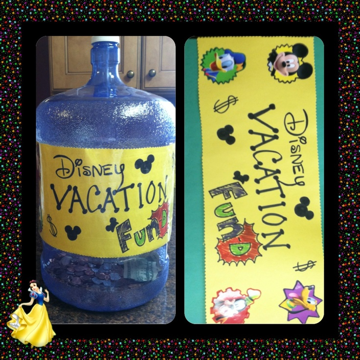Disney savings jar!!!  A Culligan water jug, sharpies, construction paper, glue, and packing tape!! Easiest way to save big for a family trip!  The lid is glued on so there's no early spending ;)