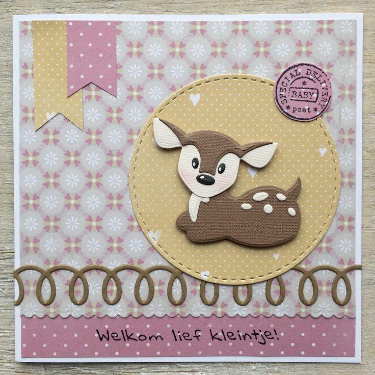 LindaCrea: Eline's Beestenboel #26 - Babykaart met Hertje