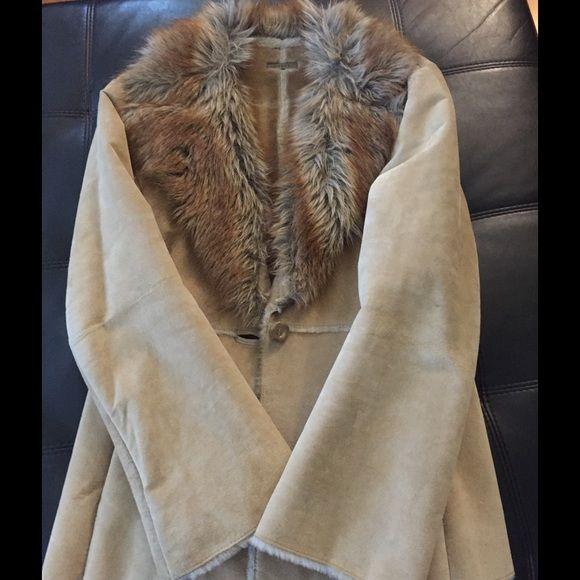 Guess Beige Fur coat authentic beige fur GUESS coat *rarely worn- very good condition Guess Jackets & Coats Pea Coats