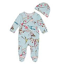 Baker by Ted Baker - Baby girls' light blue floral print sleepsuit and hat