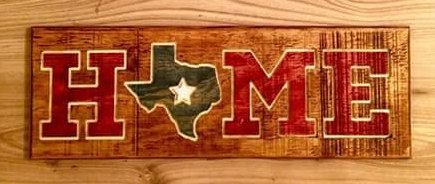 """Custome State Home Wall Decor 6"""" x 17"""" Carved into Upcycled Pallet Wood Hand Painted (USA America States) by RummWoodWorx on Etsy"""