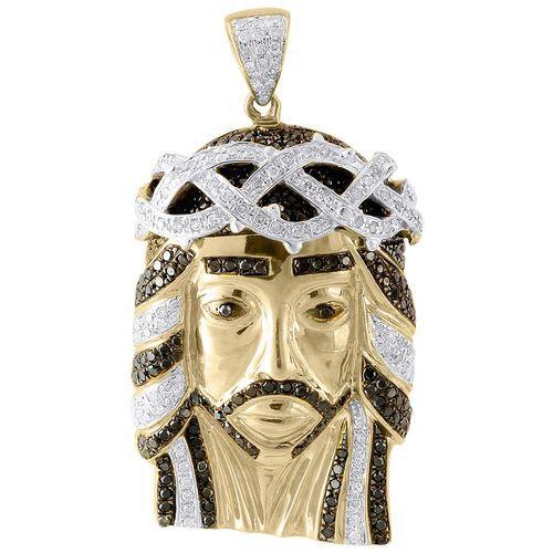 Genuine black diamond jesus piece charm 10k yellow gold 150 genuine black diamond jesus piece charm 10k yellow gold 150 pendant 125 ct jesus piece and products mozeypictures Images
