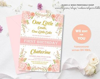 blush pink and gold first birthday invitation floral first birthday