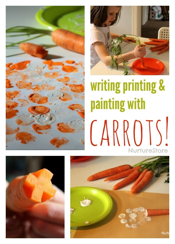 Writing and printing with carrots - fun and easy Easter craft for kids! // Escribir y estampar con zanahorias