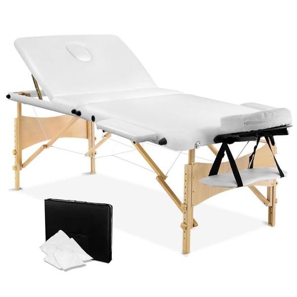 Portable Wooden 3 Fold Massage Table Chair Bed White 70 cm – Click Online Sales