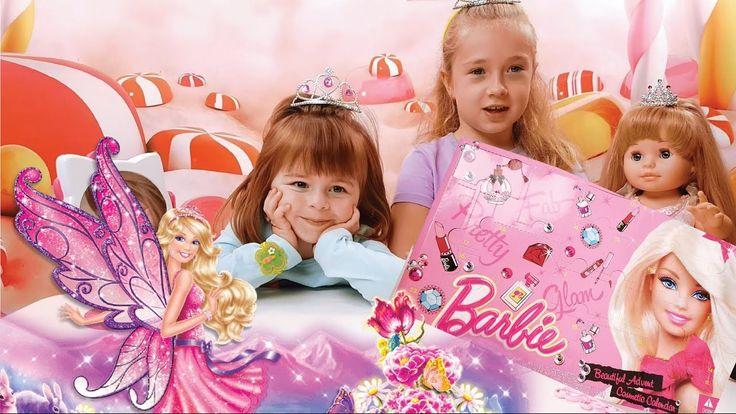 Анюта открывает набор детской косметики Барби. Детский макияж. Косметика для девочек. Аня наносит тени на веки, красит ногти, красит губы себе и кукле Маше П...