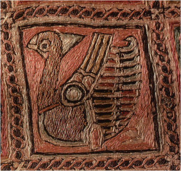 Embroidered textile fragment, 11th cent. Spanish - split, stem and couching