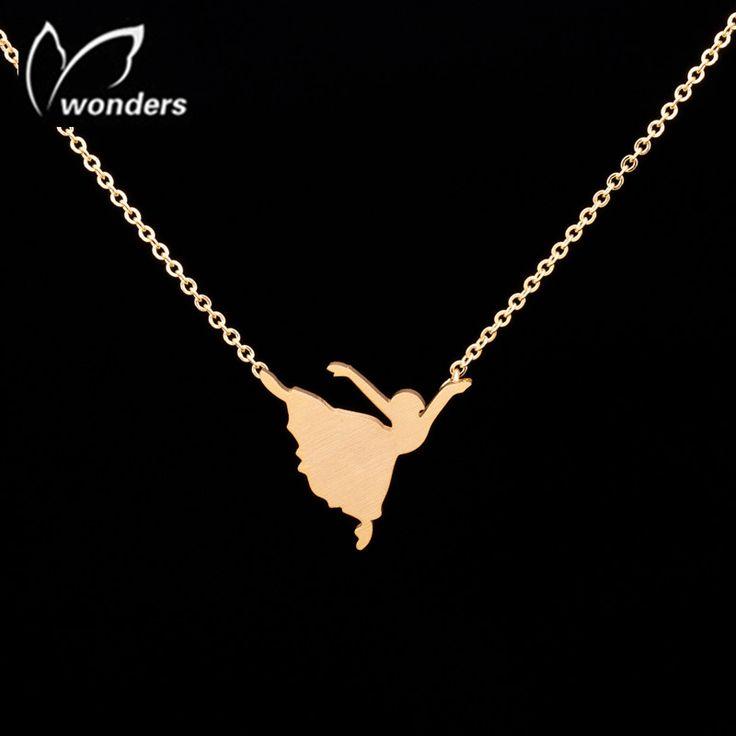 Mode argent plaqué or Ballerina pendentif colliers en acier inoxydable Bijoux 2015 femmes Bijoux adolescent fille d'anniversaire Souvenirs(China (Mainland))