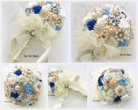 Brooch Bouquet Royal Blue Blue Ivory Cream Champagne