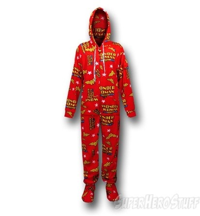 Superhero Footed Pajamas for Adults - aren't these cool?   I love the Wonder Woman pjs that you can see here, but on this site there's lots of different ones available.