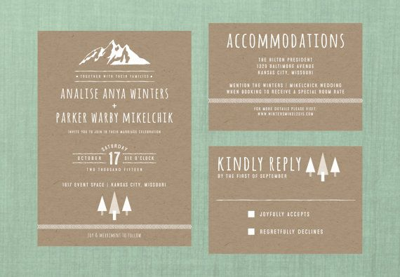 Whimsical Forest Mountain Wedding Suite // DOWN PAYMENT towards Printed Sets // Rustic Wedding, Whimsical Wedding, Outdoors Wedding