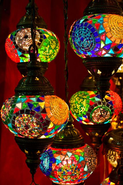 t-a-h-i-t-i:    Turkish lamps by Paul Hagon on Flickr. Mosaic lamps lights