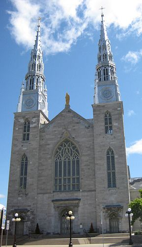 Ottawa's oldest surviving and largest church was constructed between 1841 and 1853 but it wasn't until 1858 that the two towers received their trademark matching spires.