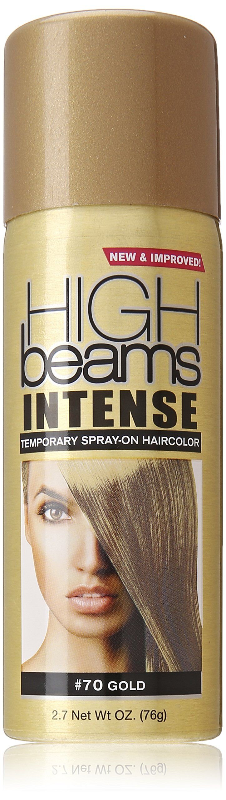 high beams Intense Temporary Spray on Hair Color, Gold, 2.7 Ounce. Add pizzazz to any hair design. It's the perfect tool for adding subtle color highlights or for making a bold statement. High beams intense washes away with just one shampooing, with no risk of damaging your hair color; Get ready to turn on the creativity with high beams intense temporary spray-on hair color.