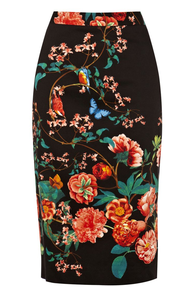 Multi Winter Butterfly Pencil Skirt