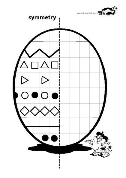Worksheet Symmetry Easter Egg. Copy the left side to the right.  KROKOTAK PRINT! | printables for kids