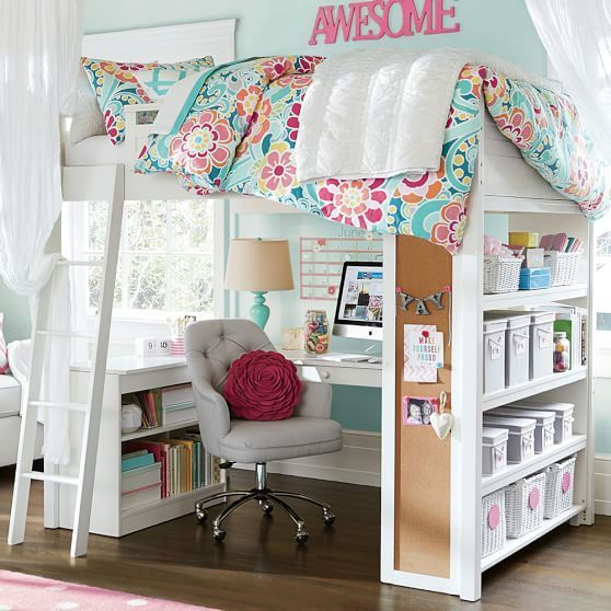 Tufted Desk Chair and space-saving desk/bed idea #DeskChair