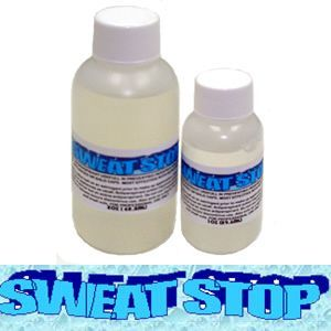 Use Sweat Stop on skin before applying prosthetics to achieve the very best adhesion from your glue medium.  This is not a sealer or barrier product, but an active antiperspirant.  It can be applied not only to the face and neck, but it can also be combed through the hair under a bald cap.