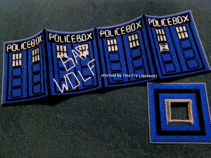 plastic canvas tissue box cover of the Tardis from Dr Who stitched by Tina Jackson Fry
