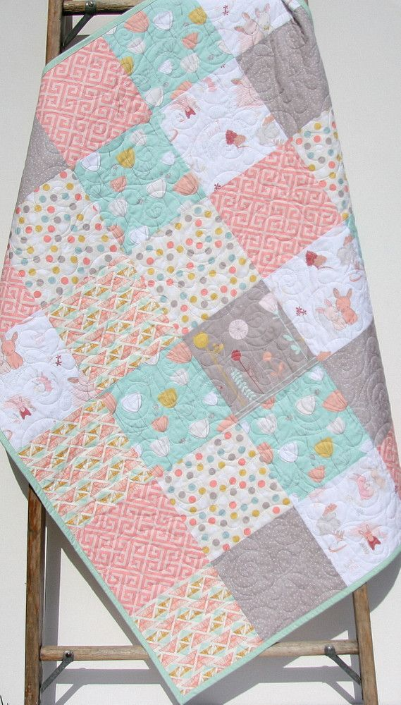Baby Girl Quilt, Littlest Pastel Bedding, Crib Blanket For Sale, Coral Mint Bunnies Flowers Nursery Designer Bedding, Ready to Ship