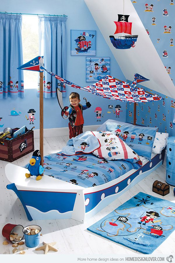 Pirate Ship Bed - all this is a bit much but I could take some things from it.