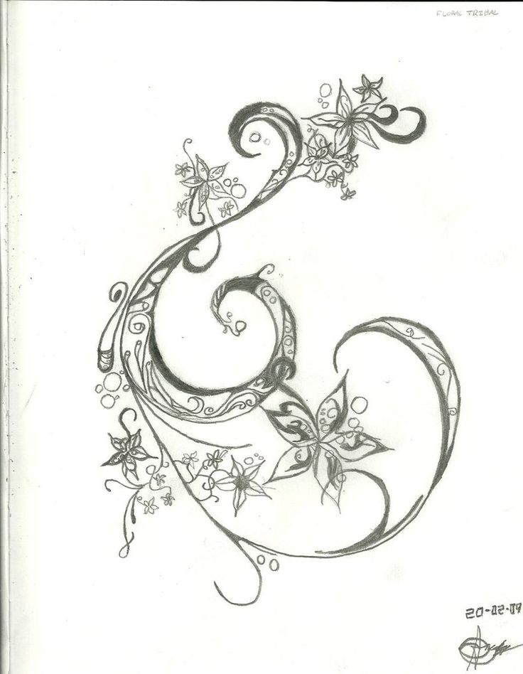 ink outline swirl with flowers accent detail tattoo design add to existing tattoos tattoos. Black Bedroom Furniture Sets. Home Design Ideas