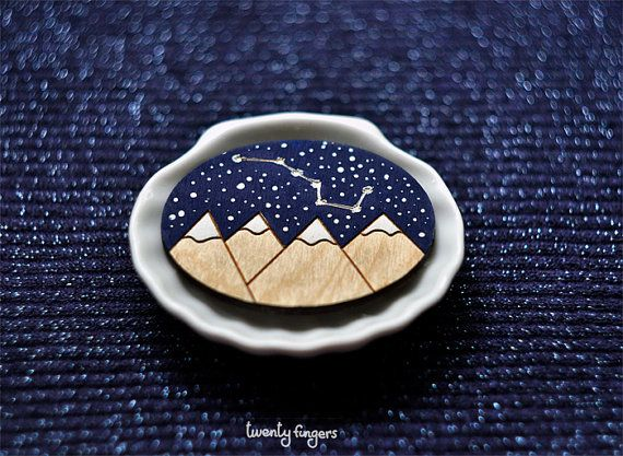 Wood Laser cut Brooch starry sky with the by TheTwentyFingers