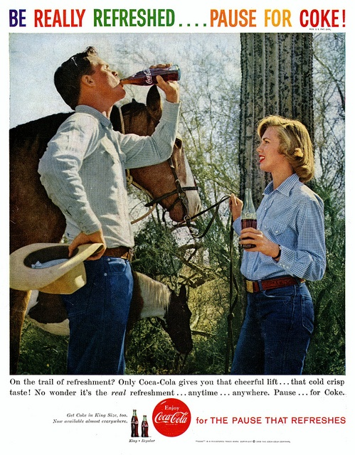 On the trail of refreshment? Only Coca-Cola gives you that cheerful lift! (Vintage 1950s ads)