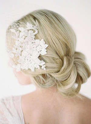 Birdcage veil and low updo