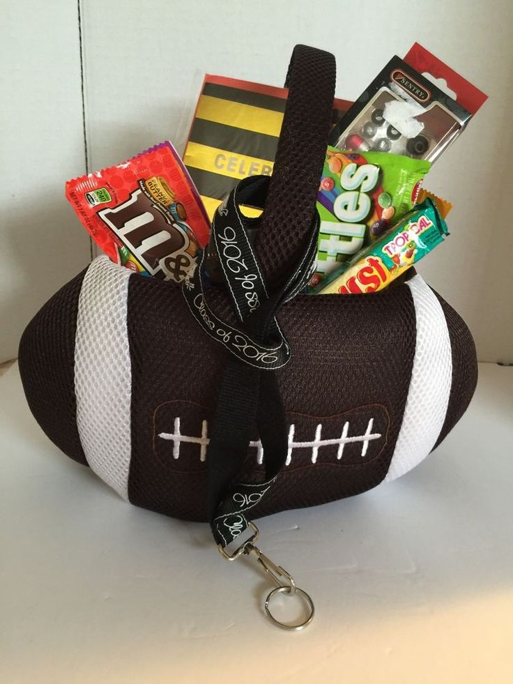 Graduation Football Gift Basket Microphone Earbuds Candy Filled | eBay