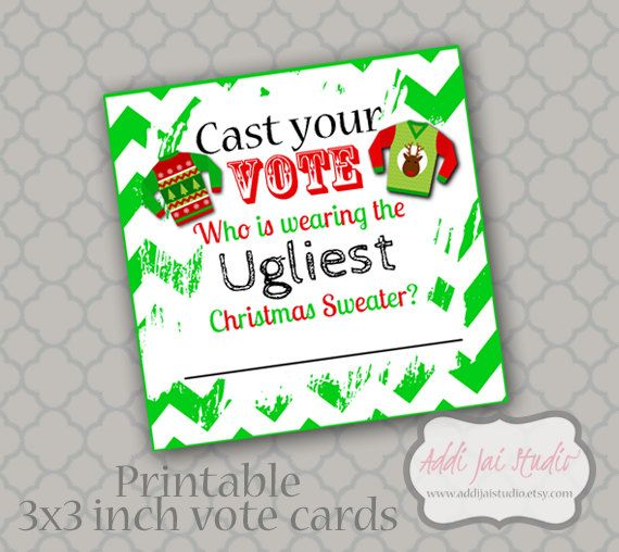 INSTANT DOWNLOAD Ugly Christmas Sweater Vote Cards ...